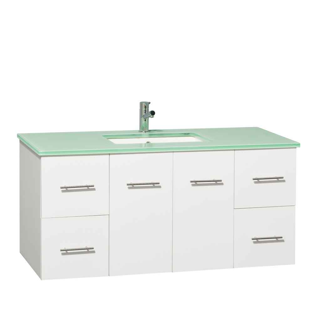 "48"" Zentra Single Vanity - Shown With Green Glass Top"