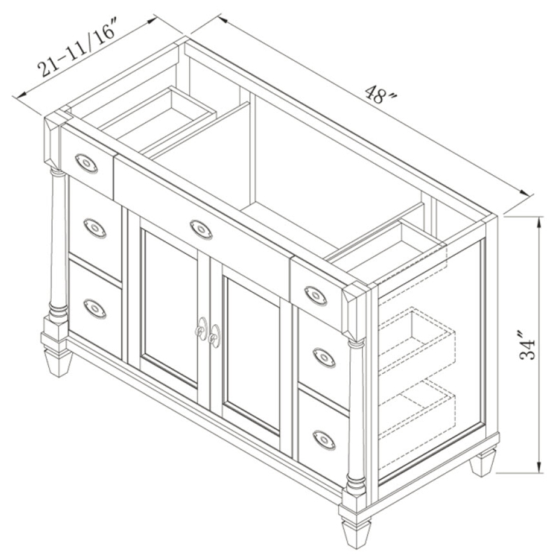 "48"" Regency Place Single Vanity - Dimensions"