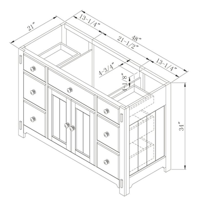 """48"""" Milltown Single Vanity - Dimensions"""