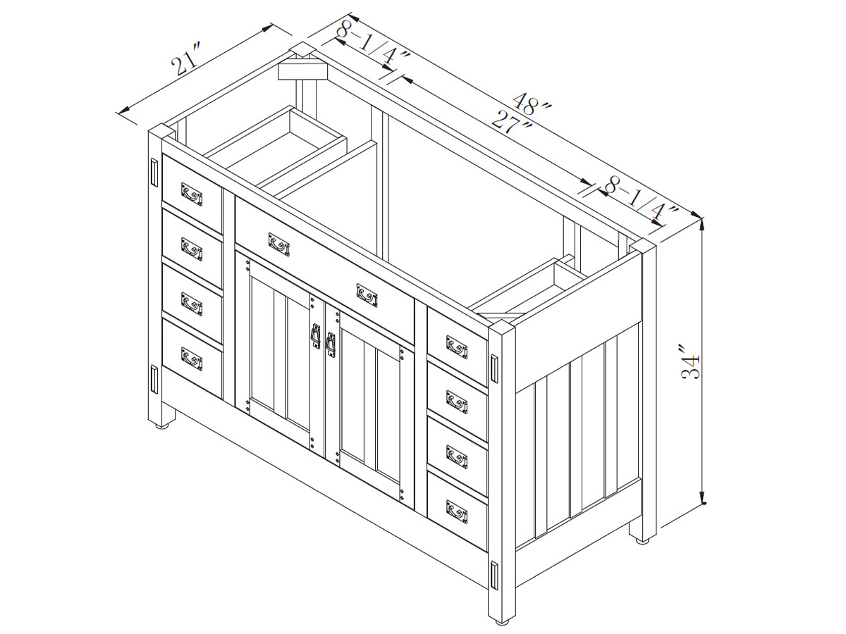 "Double Bathroom Vanity Measurements 48"" american craftsman single bath vanity - bathgems"