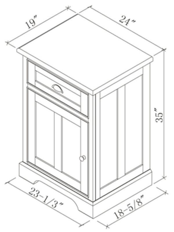 Optional Linen Cabinet (Base) - Dimensions