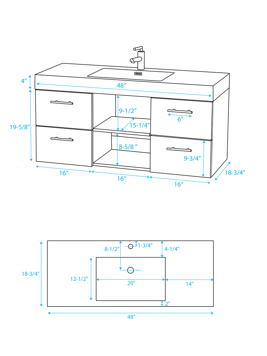 "48"" Stephanie Single Vanity - Dimensions"