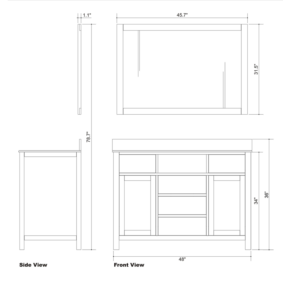 "49"" Caroline Avenue Single Vanity - Dimensions"