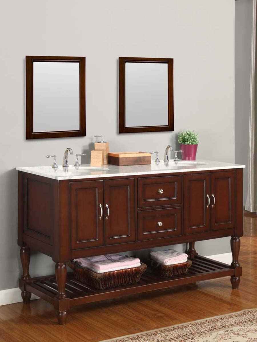 "60"" Bridgeport Double Vanity - with Carrera White Marble top"