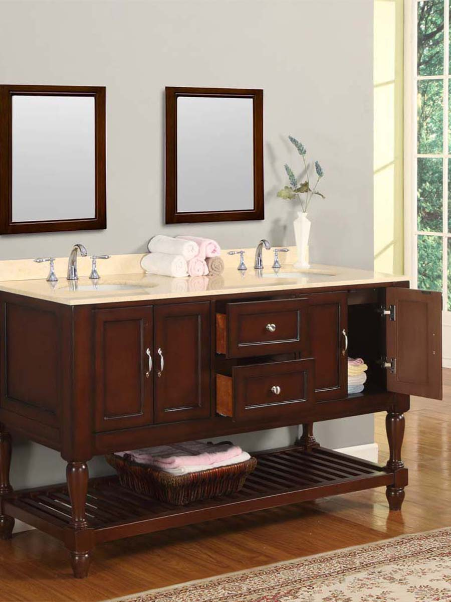 "60"" Bridgeport Double Vanity - with Perlato Svevo Marble top"