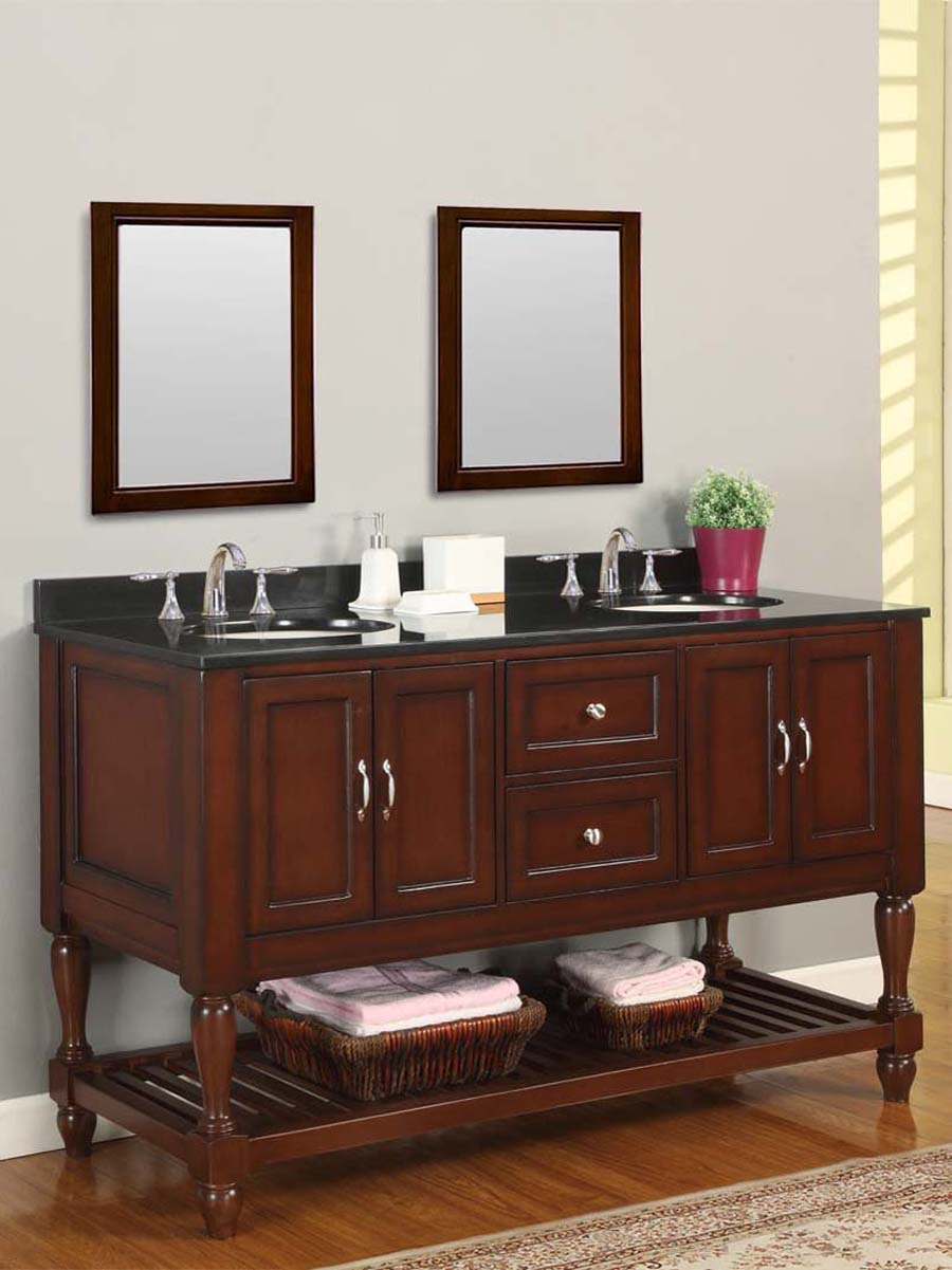 "60"" Bridgeport Double Vanity - with Black Granite top"