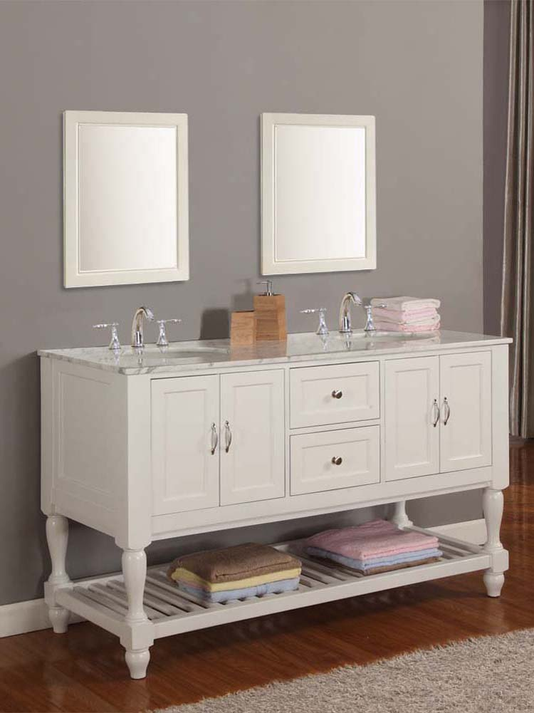 white vanity double sink. 60  Bridgeport Double Sink Vanity with Carrera White Marble top Pearl Bathgems com