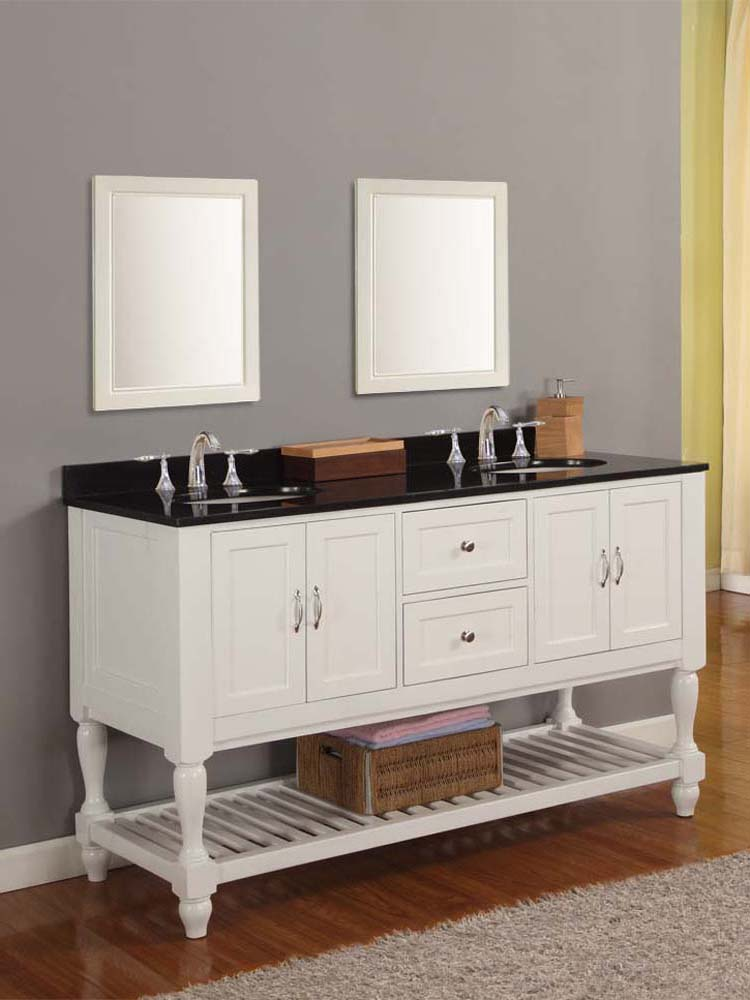 5 double sink vanity. 60  Bridgeport Double Sink Vanity with Black Granite top Pearl White Bathgems com