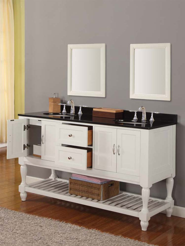 "60"" Bridgeport Double Sink Vanity - with Black Granite top"
