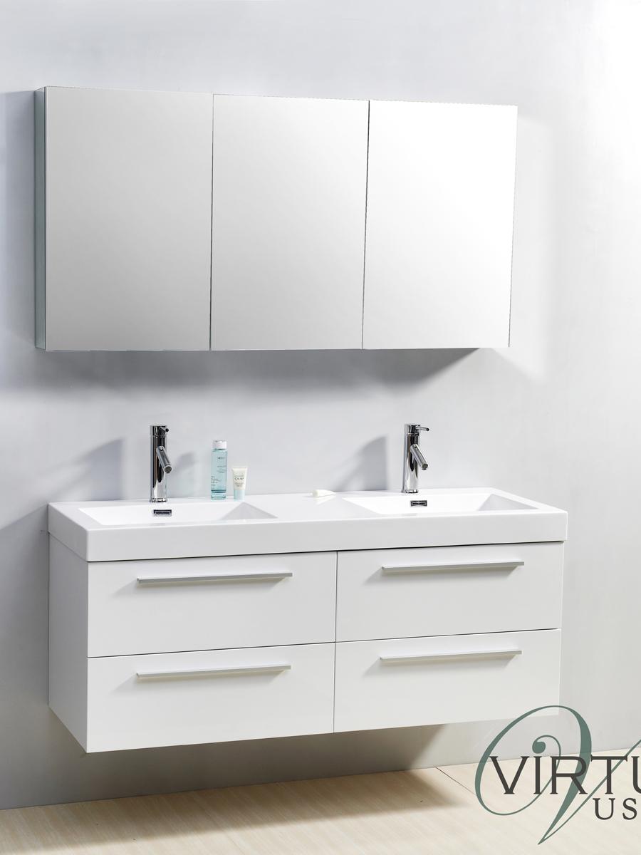 "54"" Finley Double Sink Vanity in White"