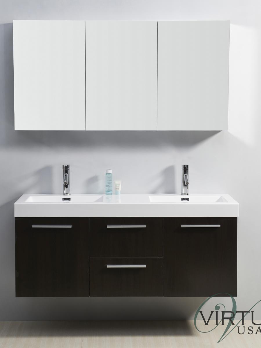 "54"" Midori Double Sink Vanity in Wenge"