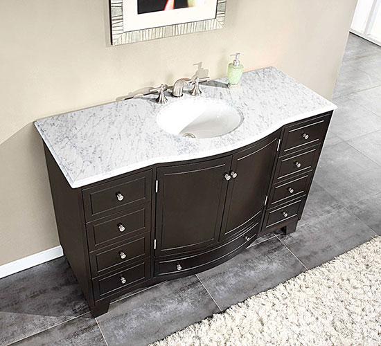 "55"" Delia Single Bath Vanity - with White Marble Top"