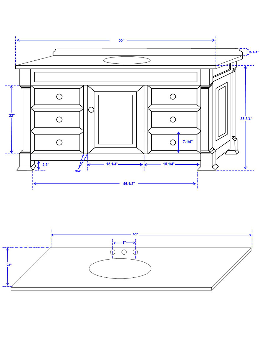 "55"" Andover Single Vanity - Dimensions"