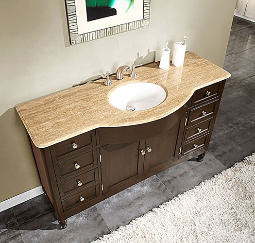 "58"" Antillo Single Bath Vanity - with Travertine Top"