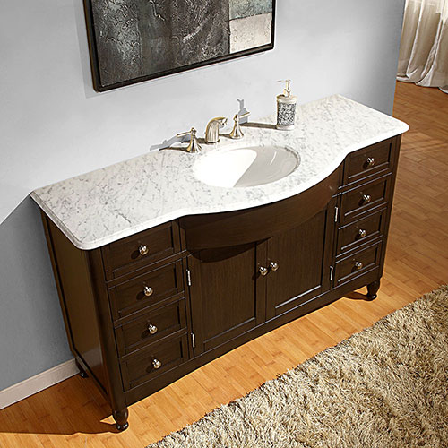 "58"" Antillo Single Bath Vanity -White Marble top"