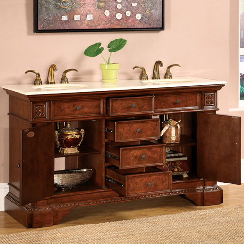 60 double sink vanity. 60  Aragona Double Sink Vanity Two Single Door Cabinets And Four Drawers Bathgems Com