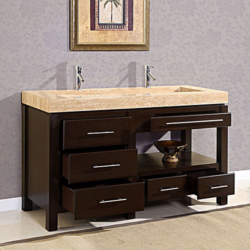 60 Gavius Double Sink Vanity Six Drawers And Open Shelf