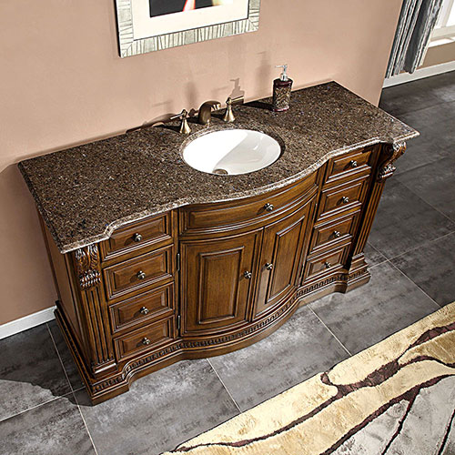 "60"" Lambros Single Bath Vanity - with Labrador Antique Granite Top"