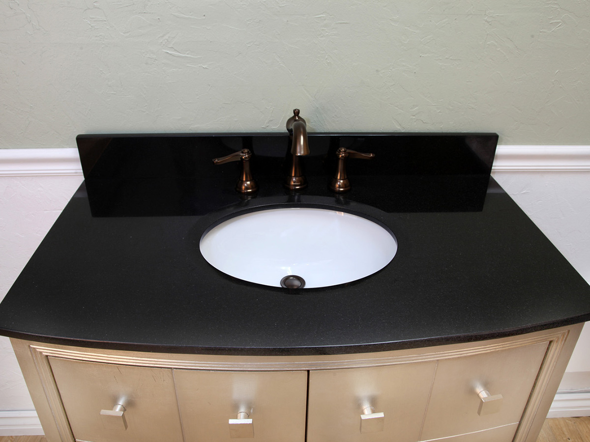 Black Granite Top And Ceramic Sink Bowl (Faucets Sold Separately)