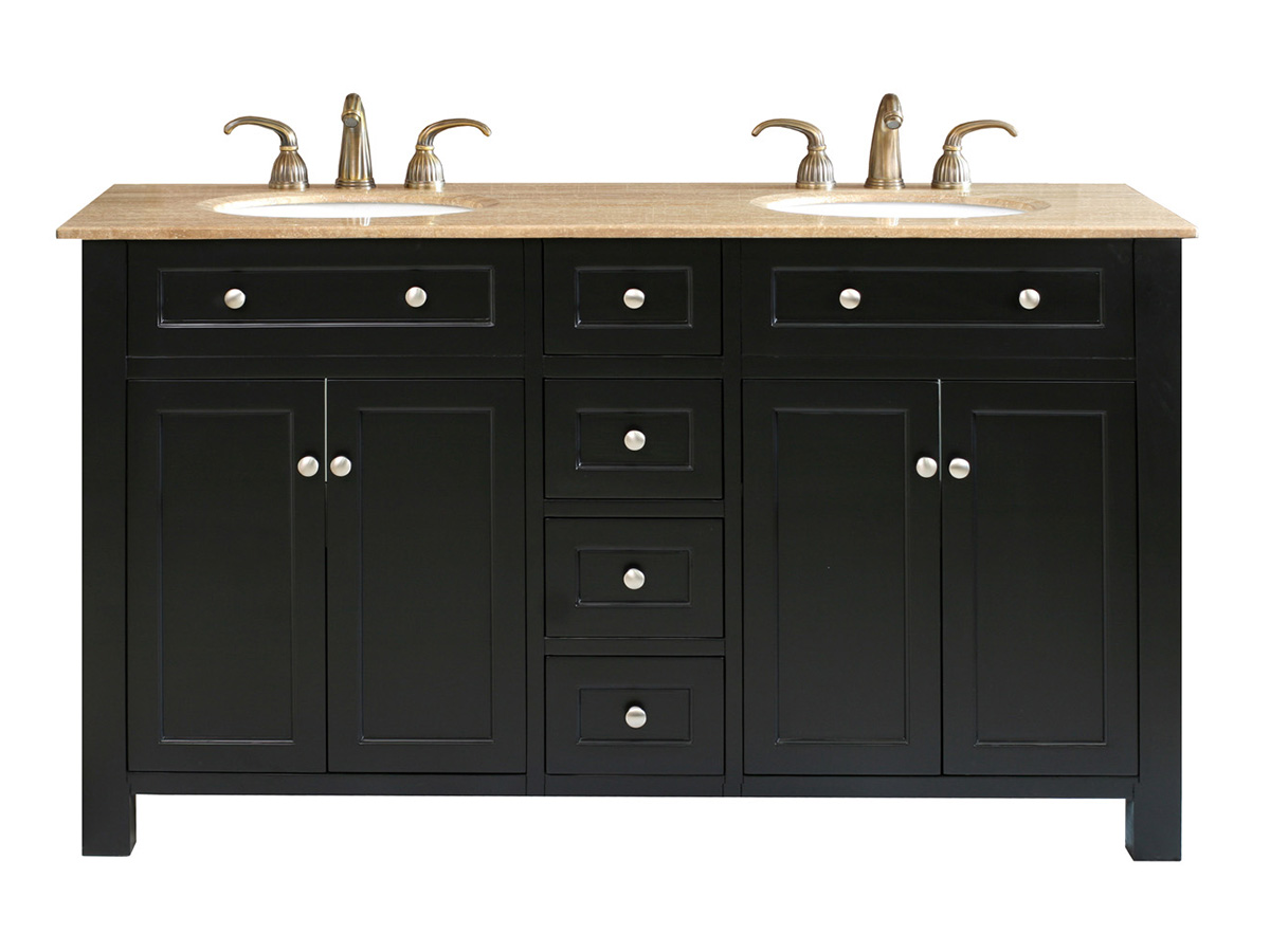 "62"" Lamia Double Sink Vanity In Black"