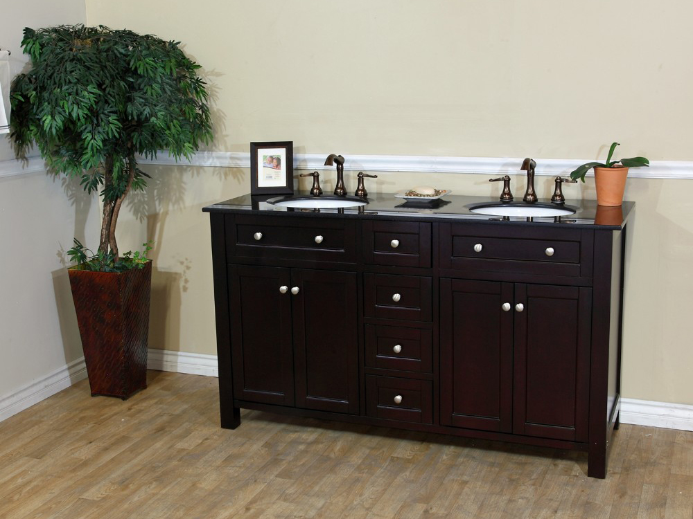 "62"" Lamia Double Sink Vanity in Dark Mahogany"