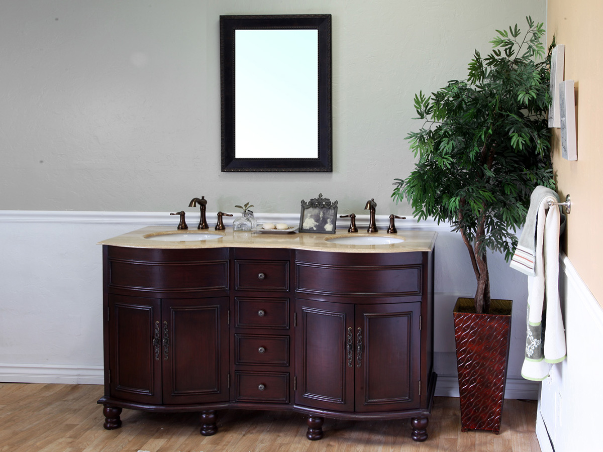 "62"" Somerset Double Sink Vanity In Walnut"