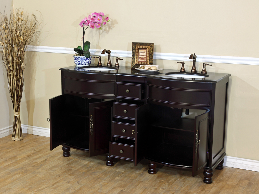 Two Double-Door Cabinets And Four Drawers - Shown With Black Galaxy Granite Top