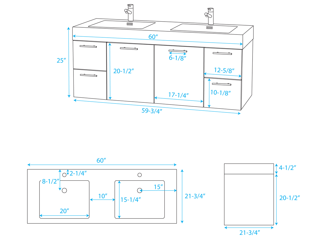 "60"" Amare Double Vanity - Dimensions"
