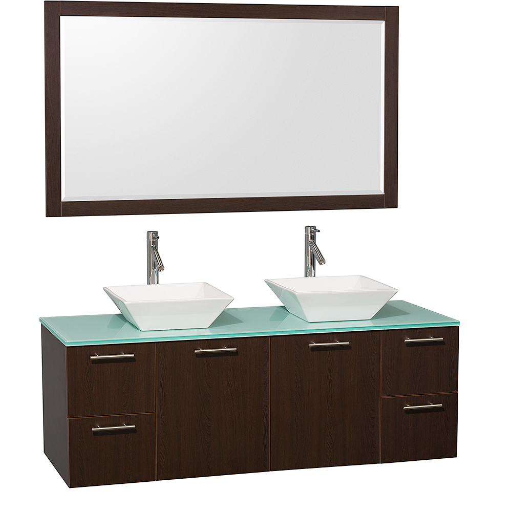 Green Glass Top with White Porcelain Sinks and Large Mirror