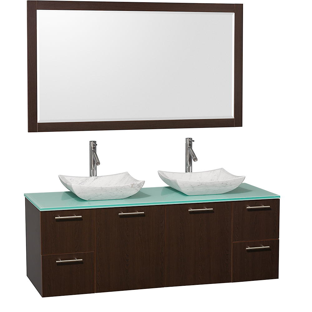 Green Glass Top with White Carrera Marble Sinks and Large Mirror