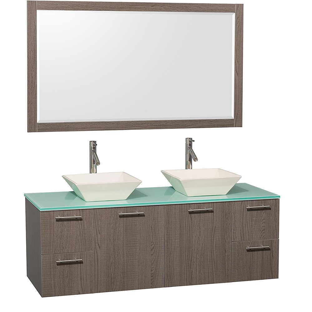 Green Glass Top with Bone Porcelain Sinks and Large Mirror
