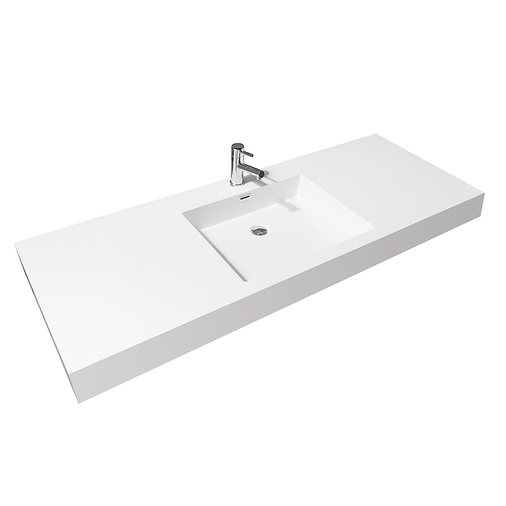 Acrylic Resin Integrated Sink Top. 60  Amare Single Bath Vanity   Grey Oak   Bathgems com