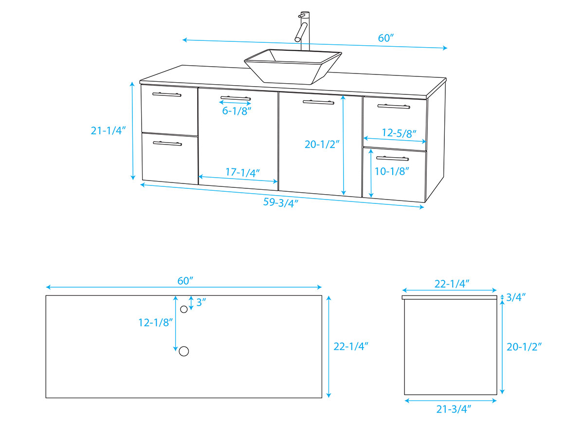 "60"" Amare Vessel Sink - Dimensions"