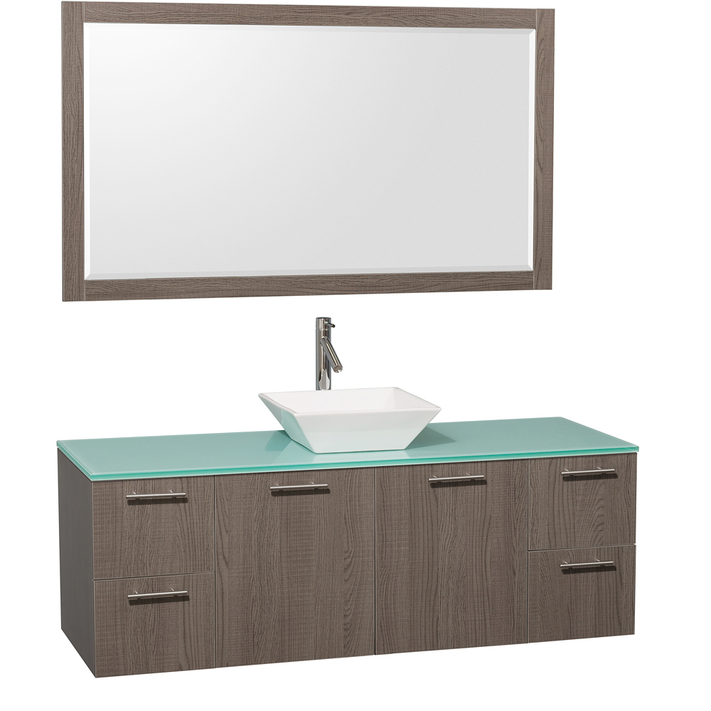 Green Glass Top - Shown with White Porcelain Sink