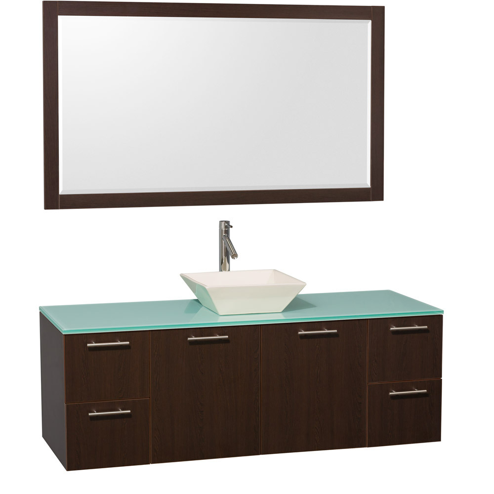 Green Glass Top - Shown with Bone Porcelain Sink