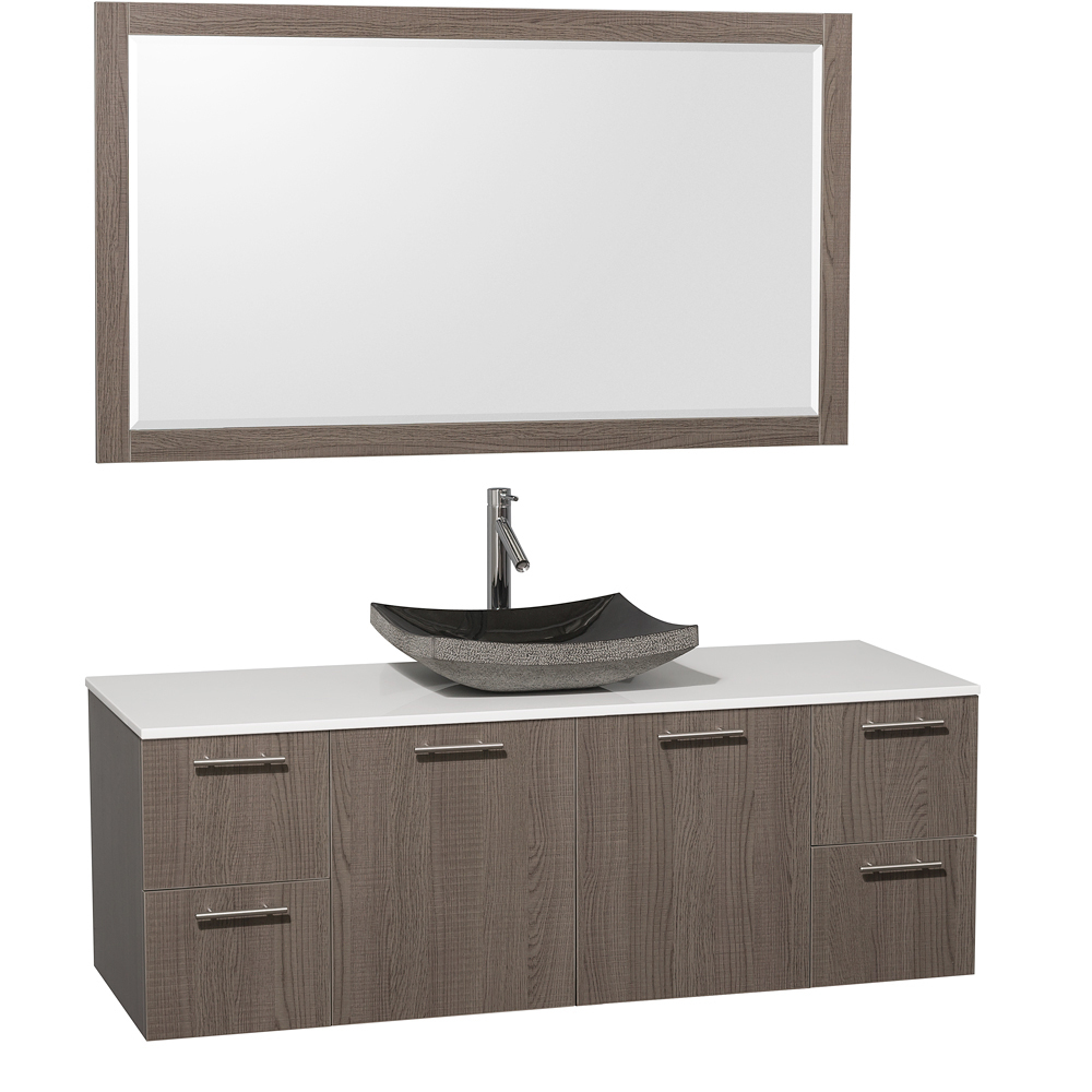 Artificial Stone Top - Shown with Black Granite Sink