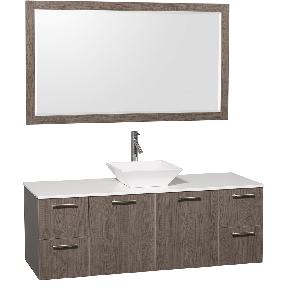 Artificial Stone Top - Shown with White Porcelain Sink