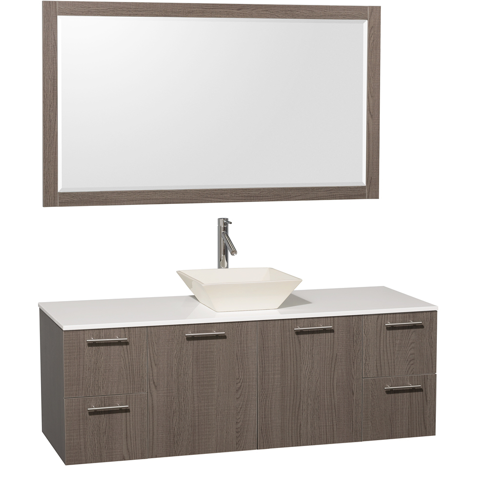 Artificial Stone Top - Shown with Bone Porcelain Sink