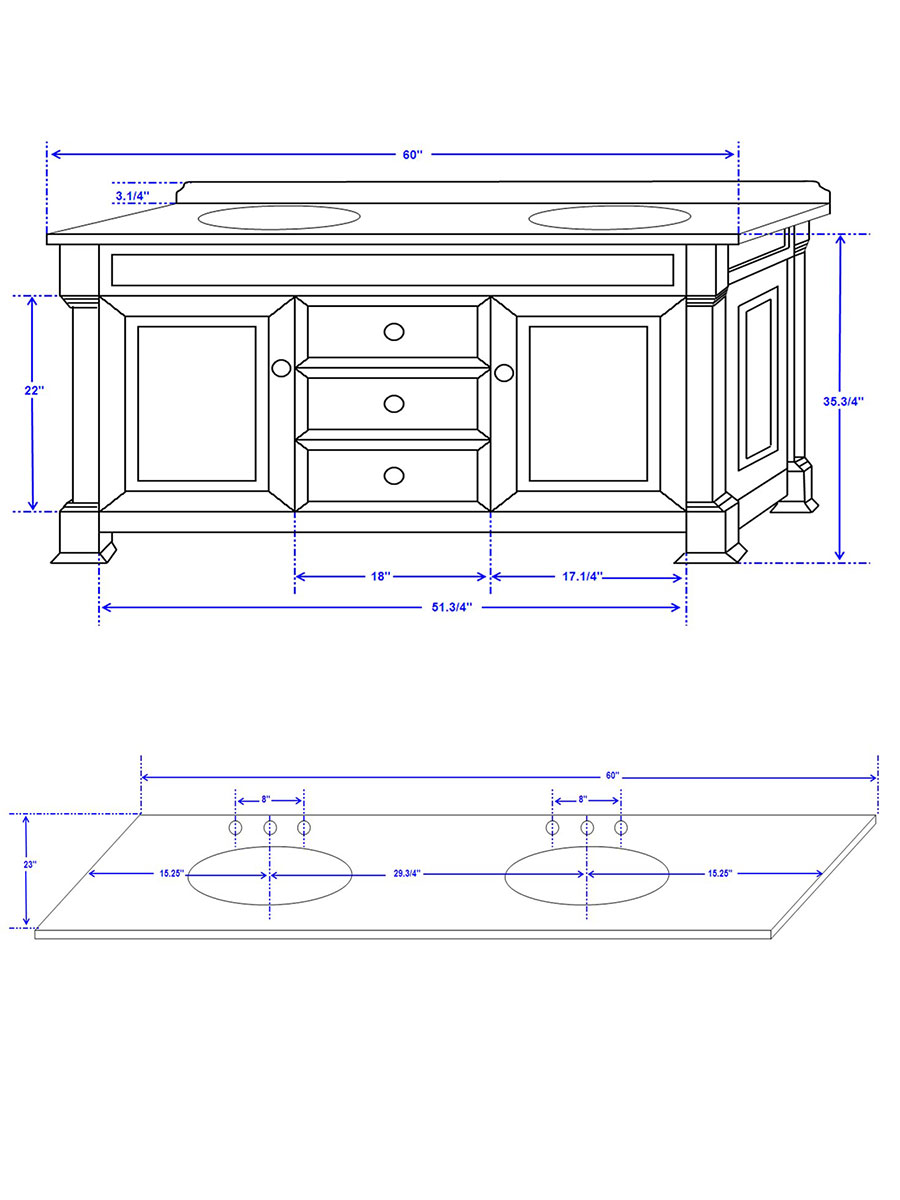 """60"""" Andover Double Vanity - Dimensions"""
