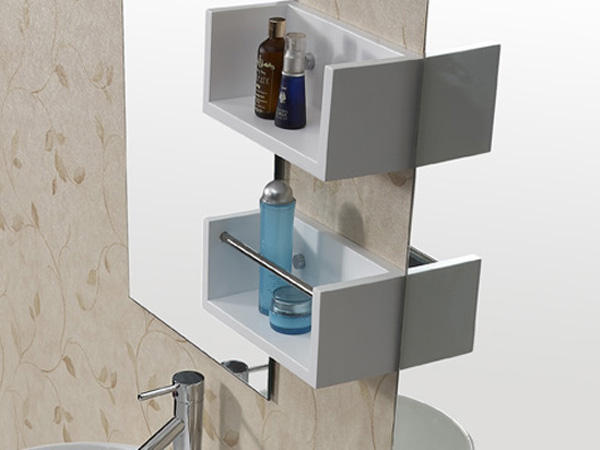 Includes 2 mirrors and shelving unit
