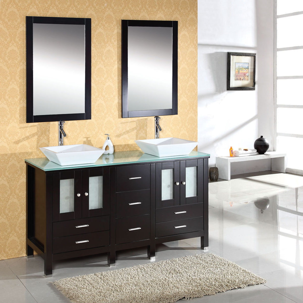 "60"" Bradford Double Vanity - with Glass top"