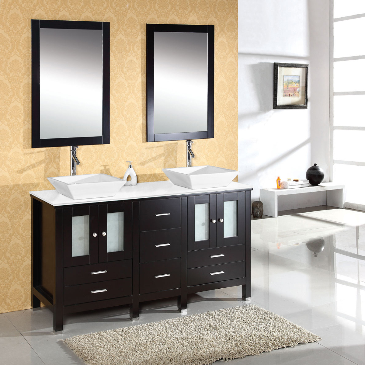 "60"" Bradford Double Vanity - with Artificial Stone top"