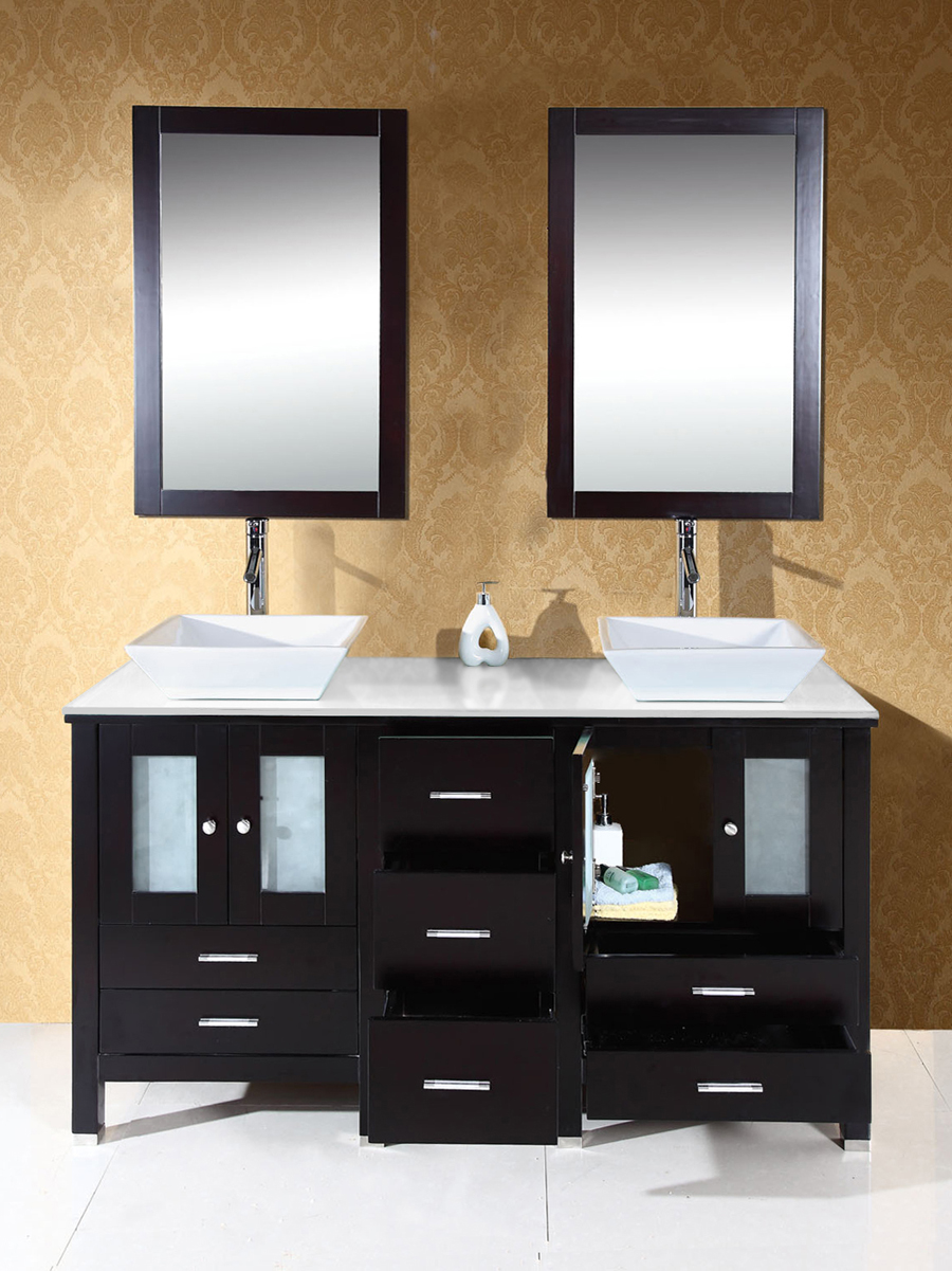 Features 2 double-door cabinets and 7 drawers