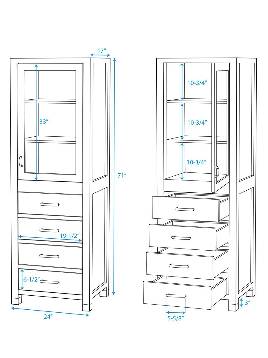 Shaina Floor Cabinet - Dimensions