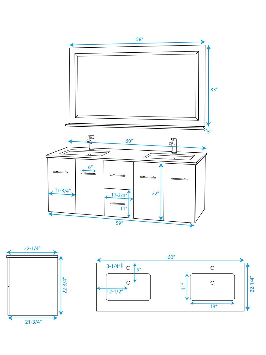 60 Quot Zentra Double Sink Vanity Grey Oak Bathgems Com
