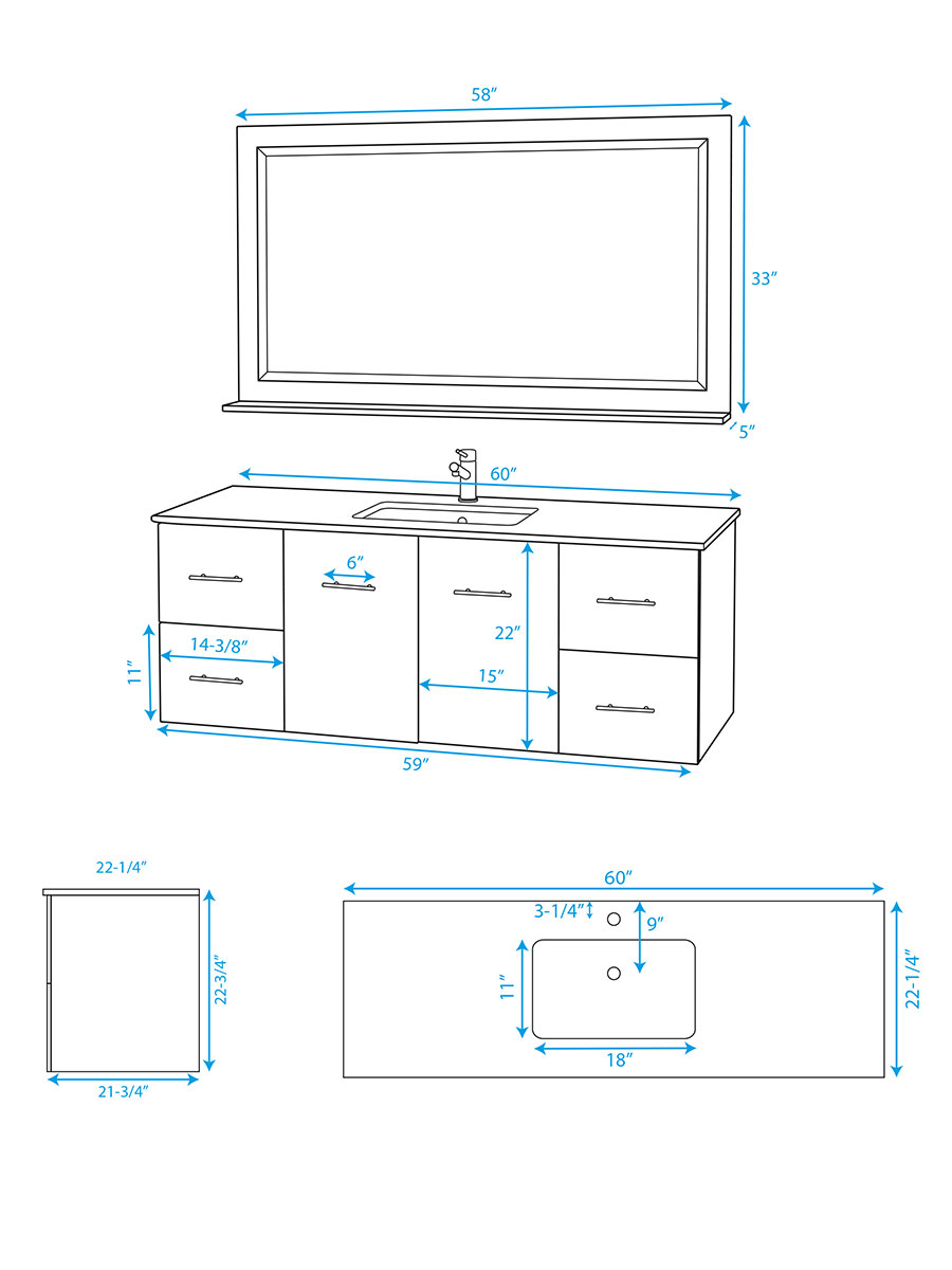 "60"" Zentra Single Vanity - Dimensions"