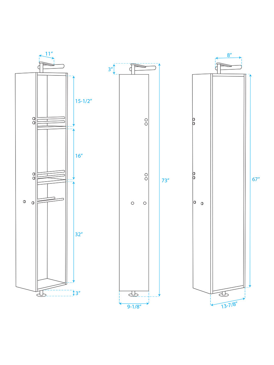 Amare Rotating Floor Cabinet - Dimensions