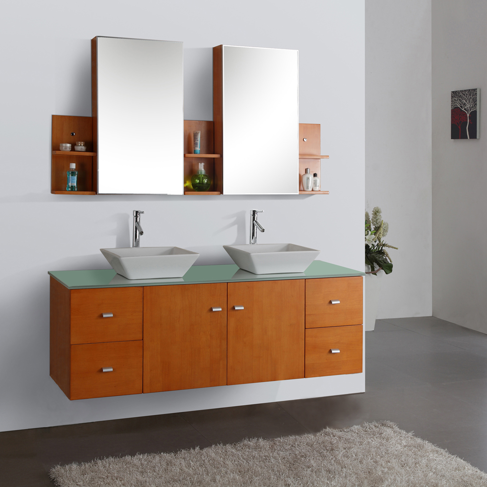 "61"" Clarissa Honey Oak Double Vanity - with Tempered Glass Top"