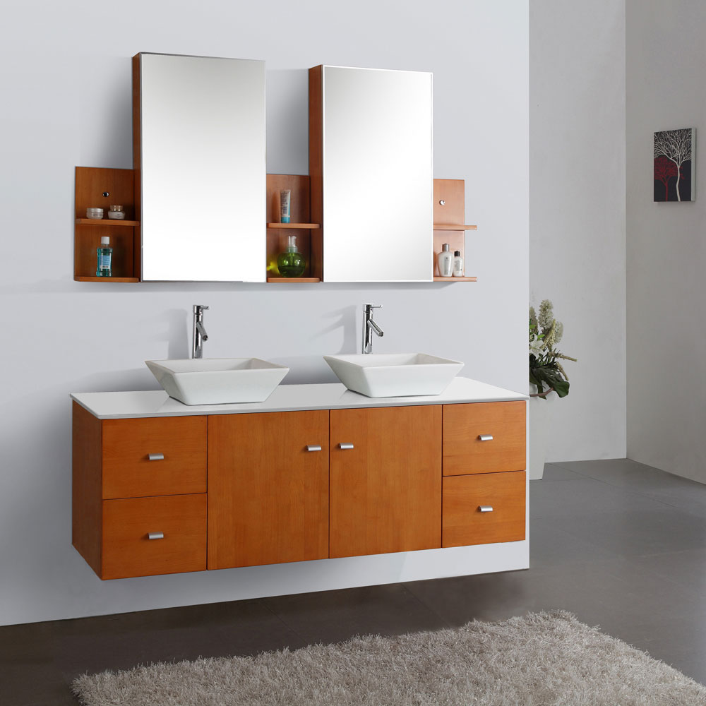"61"" Clarissa Honey Oak Double Vanity - with Artificial Stone Top"