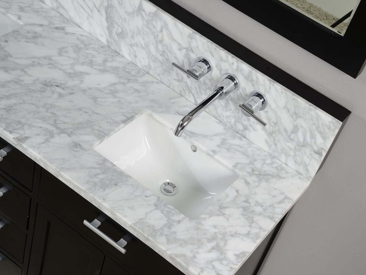 White marble top with squared sink cut-out